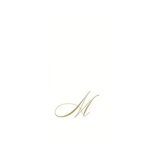 Entertaining With Caspari White Pearl Paper Linen Guest Towels, Monogram Initial M, Pack Of 24 front-14316
