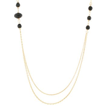 14k Gold Bonded Necklace with a 36in Double Strand Chain Necklace and Faceted Black Beads in Goldtone