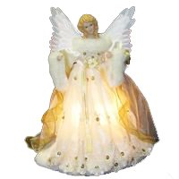 "14"" Lighted Gold Fiber Optic Animated Porcelain Angel Christmas Tree Topper"