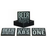 Primitives By Kathy Wooden Drink Coaster/ Four Different Beer Themed in Wooden Holder
