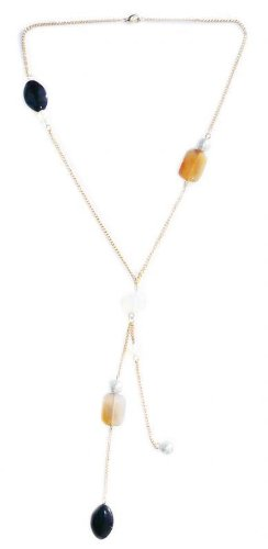 45 cm Necklace made of Chalcedony and black onyx on a gold plated metal chain