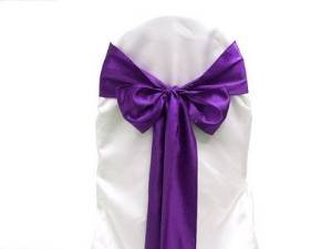 Spring Rose(TM) Purple Wedding Satin Chair Sashes(set of 10). These Are a Wonderful Decoration for Your Chairs. Be Sure and Add Them to Your List of Party Supplies.
