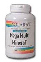 Solaray Mega Multi Mineral Iron-Free Vitamin Capsules, 100 Count