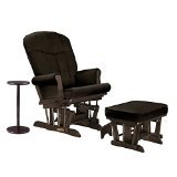 Shermag Glider Rocker and Ottoman with Side Table, Espresso/Chocolate - 1
