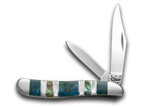 Case Xx Exotic Peacock Coral Abalone Genuine Mother Of Pearl Peanut Pocket Knife Knives