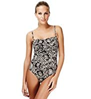 Ultimate Faux Snakeskin Print Ruched Swimsuit