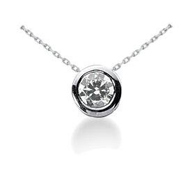 .34CT Round Bezel Solitaire Diamond Pendant 14K White Gold