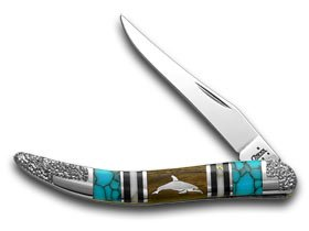 Case Xx Yellowhorse Dolphin Hard Wood Turquoise 1/1 Toothpick Pocket Knife Knives
