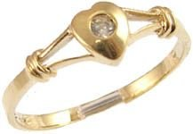 14k Yellow Gold, Dainty Heart Design Ring with Lab Created Round Brilliant Center Stone