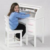 Jr. Roll Top Desk - White & Pink