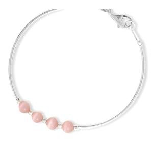 Children's Bangle Bracelet Sterling Silver Pink Cat's Eye Beads