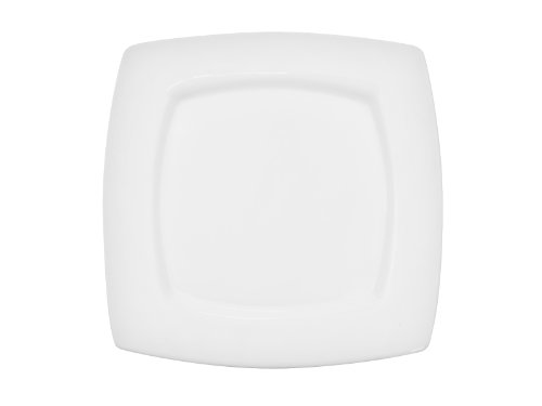 Cac China Rcn-S8Q Clinton Square 8-7/8-Inch Porcelain Square-In-Square Plate, Super White, Box Of 24