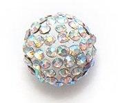 Bijoux By Me 12mm Pflaster-Fimokristallset Shamballa Armbandperlen - DIY Schmuckmachen weiss mit Kristallen 1 Stück