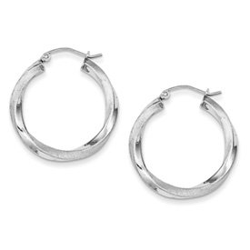 Genuine IceCarats Designer Jewelry Gift Sterling Silver Rhodium-Plated 3.00Mm Polished & Satin Twisted Hoop Earring