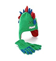 Fleece Dinosaur Design Hat, Gloves & Mittens Set