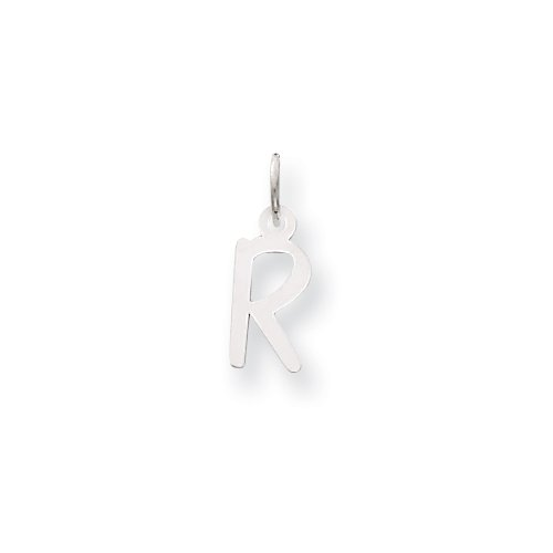 14k White Gold Small Slanted Block Initial R Char
