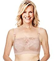 Post Surgery Floral Lace Jacquard Print Padded A-DD Bra with Modal