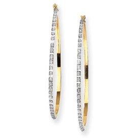 14k Rough Diamond Fascination Large Round Hinged Hoop Earrings - JewelryWeb