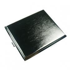 Smooth Black Leather Crush Proof Cigarette Case for King Size or 100mm (Various Black Leather Designs)
