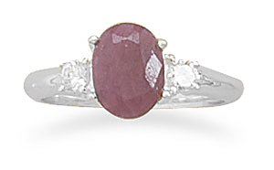 Sterling Silver Rough-Cut Ruby and CZ Ring / Size 9