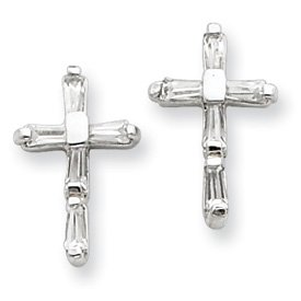 Sterling Silver CZ Cross Post Earrings with Design