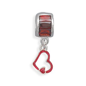 Red CZ and Heart Charm Bead