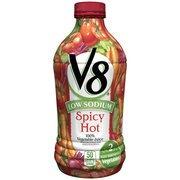 V8 Low Sodium Spicy Hot, 100% Vegetable Juice, 46 Fl Oz(Pack Of 4)