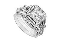 14K White Gold Princess Cut Diamond Engagement Ring with Wedding Band Sets 0.80 CT TDW MADE IN USA