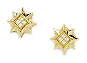 14ct Yellow Gold CZ Medium 8 Point Star Micropave Earrings - Measures 10x10mm