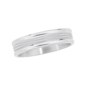 6 mm Titanium Comfort Fit Double Milgrain Band, Size 6
