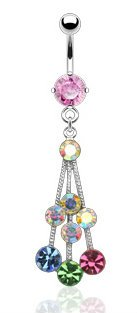Pink & Multi Coloured Crystal Dangle Drop Belly Bar Navel Ring