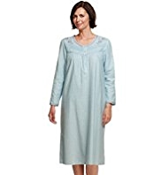 Pure Cotton Winceyette Floral Embroidered Nightdress