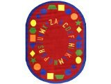 "Joy Carpets Kid Essentials Early Childhood Oval First Lessons Rug, Red, 7'8"" x 10'9"""