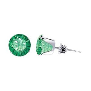 TDEZ2050-E Nickel Free Sterling Silver 6mm Round Emerald Cubic Zirconia Post Friction Back Stud Earrings