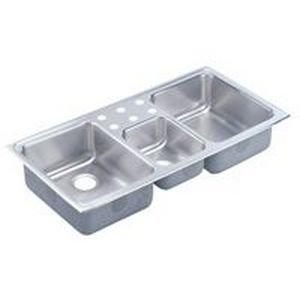 Elkay LCRQ43220 Lustertone Bowl Triple Basin Kitchen Sink