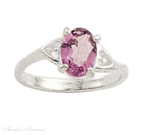 Sterling Silver Oval Amethyst Solitaire Ring Hearts Size 4