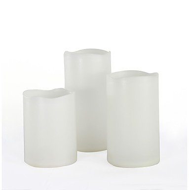 Zcl Set Of 3 White Color Plastic Flameless Candles (Led Candles) With Dual-Timer