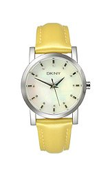 DKNY Yellow Patent Leather Strap Mother-of-Pearl Dial Women's Watch #NY4793