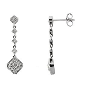 Genuine IceCarats Designer Jewelry Gift 14K White Gold Diamond Earrings. 1/3 Ct Tw Pair Diamond Earrings In 14K White Gold