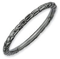 Rocking Cool Silver Stackable Black Twisted Ring. Sizes 5-10