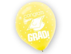 "Yellow Graduation 12"" Balloons 20 per pack"