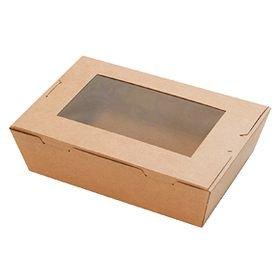 国内メーカー)窓付きランチボックス(S)クラフト 50枚