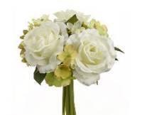 Allstate FBQ452-WH 7 in. Rose-Hydrangea Bouquet White- Case of 12