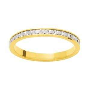 So Chic Jewels - 9k Yellow Gold Two-tone 2.5 mm Fantasy Pattern Wedding Band Ring