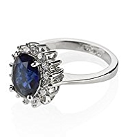 M&S Collection Platinum Plated Diamanté Regal Ring
