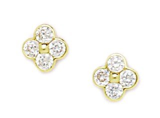 14ct Yellow Gold CZ Medium 4 Petal Flower Screwback Earrings - Measures 8x8mm