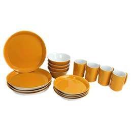 Rachel Ray 58088 Round and Square 16 Piece Dinnerware Set - Yellow