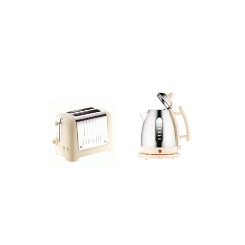 Dualit Cream Kettle & Toaster Set - 1.5L Jug Kettle Cream (72402) and 2 Slice Cream Toaster 26202