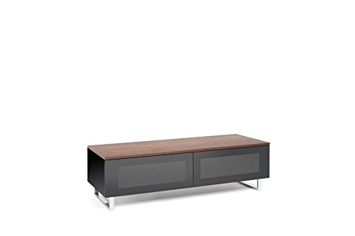 TECHLINK Panoramic TV Stand with Walnut Real Wood Veneer Top Panel and Glass Doors for Screens Up to 60-Inch, Multicolored