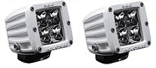 Rigid Industries M-Series (White Housing) Dually 2X2 Led Light Set Of 2 (Flood, White Led)